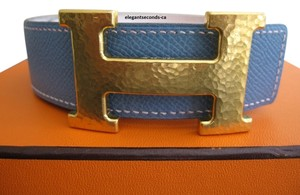 "Hermès Authentic Vintage Hermes Constance Reversible Belt Kit ""Hammer"" Style Buckle With White and Blue Jean Leather Strap Fair Condition"