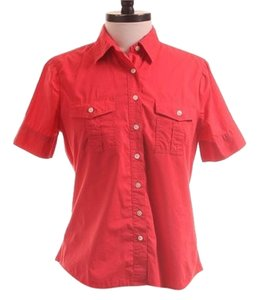 Lands' End Button Down Shirt Red