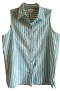 Jones New York Linen Top Turquoise/White Striped