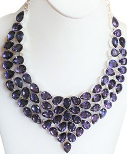 Genuine African Amethyst 925 Sterling Silver Statement Bib Necklace