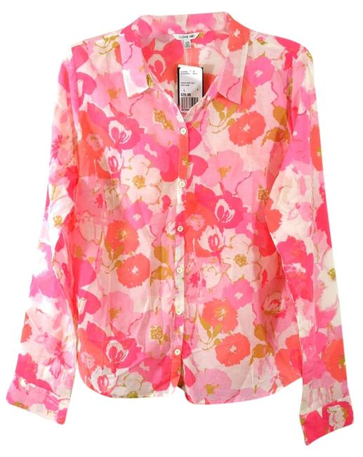 Preload https://item1.tradesy.com/images/i-love-h81-coralpink-blooming-silk-blend-shirt-coralpink-large-button-down-top-size-12-l-1135760-0-0.jpg?width=400&height=650
