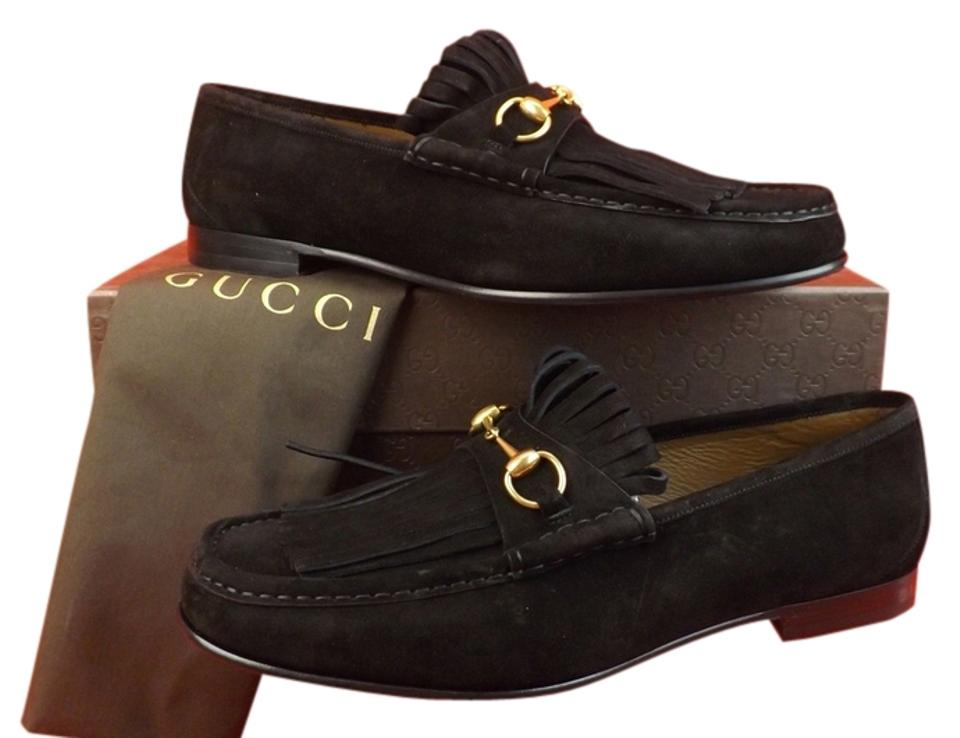 b36f922d087 Gucci Black Horsebit Queen Roos Suede Fringe Gold Tone Men s Loafers ...