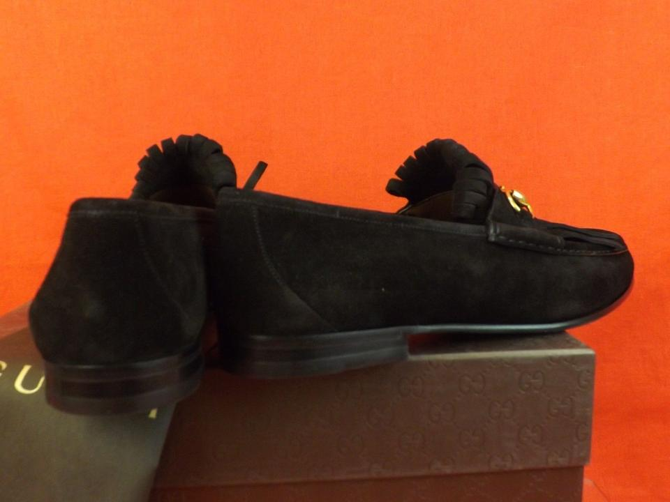 f0869b7f523 Gucci Black Horsebit Queen Roos Suede Fringe Gold Tone Men s Loafers ...