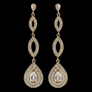 Elegance By Carbonneau Gold Plated Pave Cz Wedding Earrings