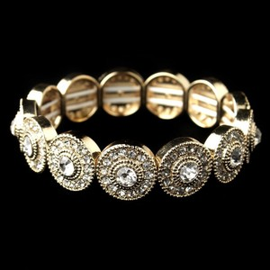Elegance By Carbonneau Gold Plated Circles Rhinestone Wedding Bracelet
