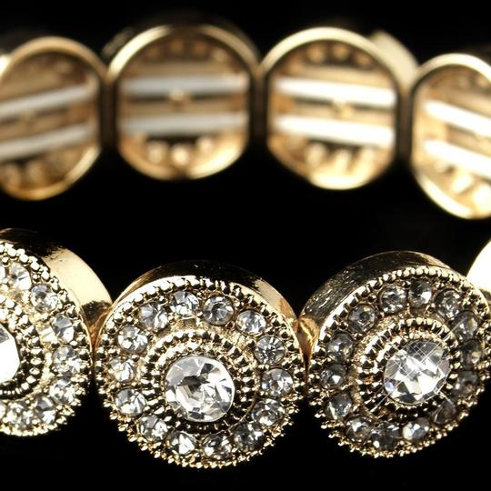 Elegance by Carbonneau Gold Plated Circles Rhinestone Bracelet