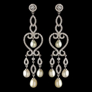 Elegance By Carbonneau Cz And Freshwater Pearl Wedding Earrings
