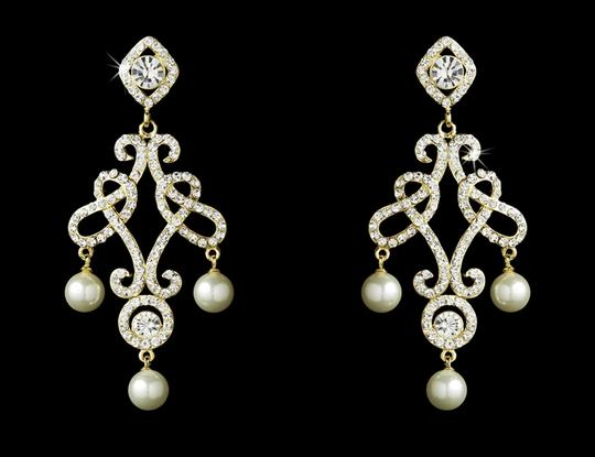 Elegance By Carbonneau Gold Plated Crystal And Pearl Wedding Earrings