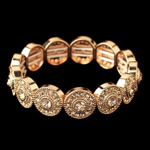 Elegance By Carbonneau Rose Gold Circles Crystal Wedding Bracelet