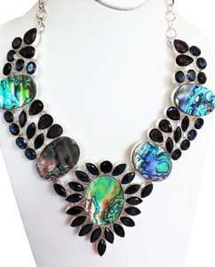 Other ABALONE SHELL, IOLITE & AFRICAN AMETHYST .925 STERLING SILVER BIB STATEMENT NECKLACE