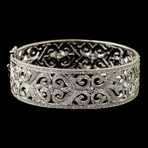Elegance By Carbonneau Cz Vintage Swirl Rhodium Plated Wedding Bracelet