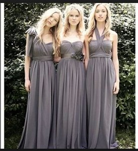 Jenny Yoo Charcoal Luxe Chiffon Aidan Formal Bridesmaid/Mob Dress Size 8 (M)