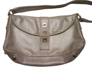 Perlina Leather Soft Bagguette Italian Satchel in Gray