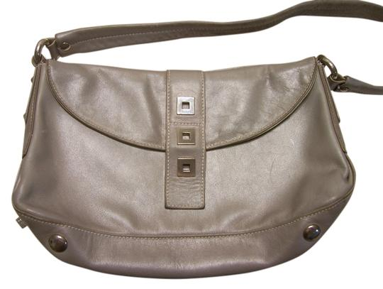 Perlina Leather Soft Bagguette Italian Satchel in Gray Image 0