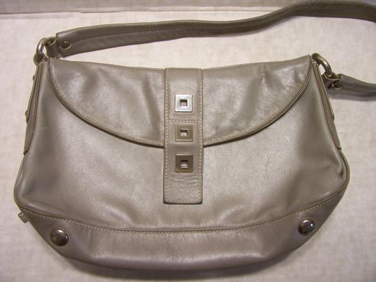 Perlina Leather Soft Bagguette Italian Satchel in Gray Image 1