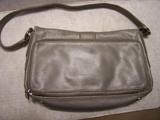 Perlina Leather Soft Bagguette Italian Satchel in Gray Image 3