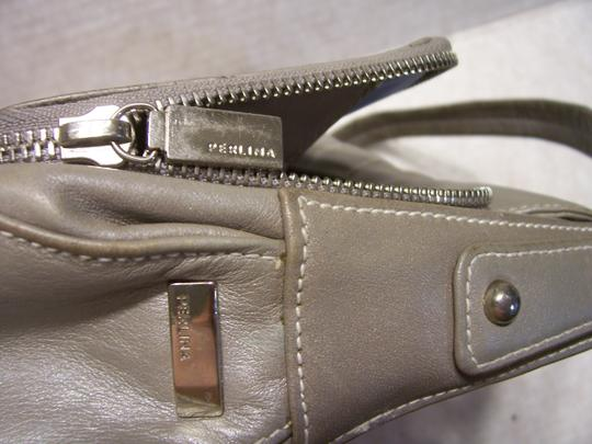 Perlina Leather Soft Bagguette Italian Satchel in Gray Image 5