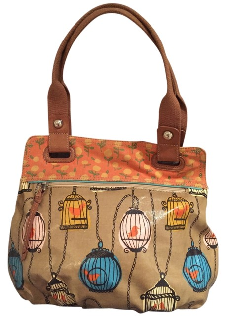 Item - Birdcage Key Per Khaki with Orange Blue and Pink Accents Coated Shoulder Bag