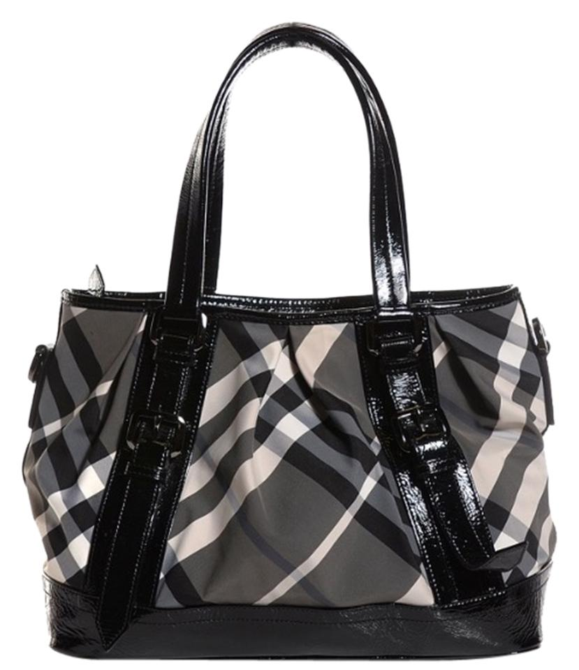 8a37c8368c5f Burberry Lowry Beat Check Black Nylon with Patent Trim Shoulder Bag ...