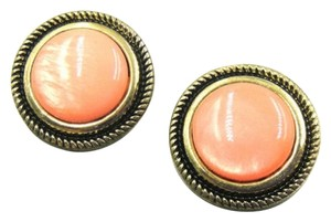 Six New Round Cat's Eye Gemstone Stud Earrings Antiqued Gold Orange J1898