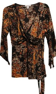 Dress Barn Top Brown/Orange/Lt.brown