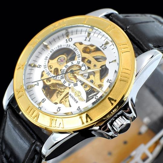 Winner Unique Automatic Round Skeleton Watch With With Rich Gold Face-FREE SHIPPING