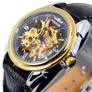 MCE Hottest Selling Automatic Skeleton Watch With Unique Black Face-FREE SHIPPING