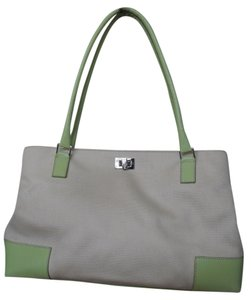 Lambertson Truex Tote in Off white Canvas with pale green Leather Trim