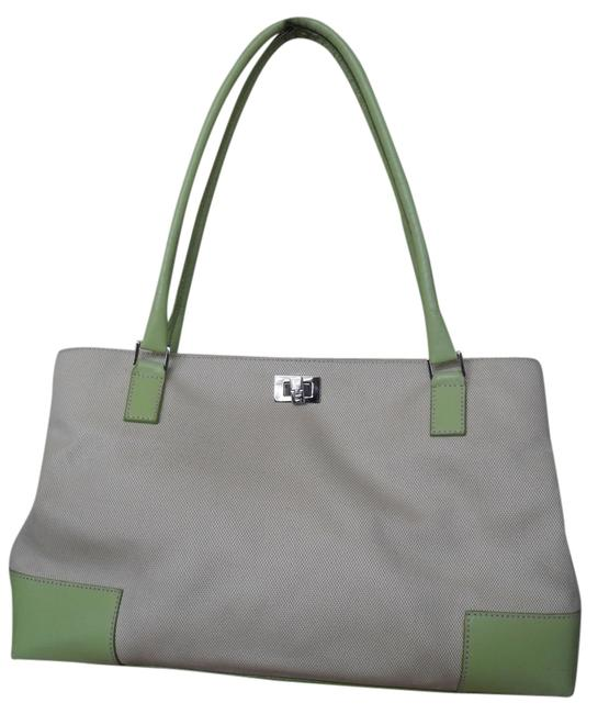 Lambertson Truex Off White Canvas with Pale Green Leather Trim Tote Lambertson Truex Off White Canvas with Pale Green Leather Trim Tote Image 1