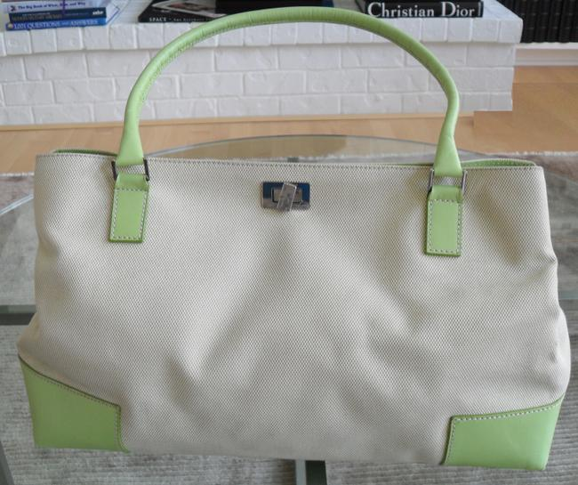 Lambertson Truex Off White Canvas with Pale Green Leather Trim Tote Lambertson Truex Off White Canvas with Pale Green Leather Trim Tote Image 2