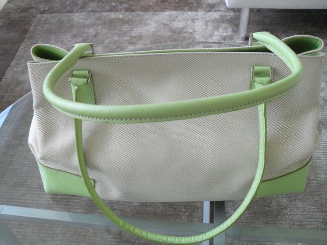 Lambertson Truex Off White Canvas with Pale Green Leather Trim Tote Lambertson Truex Off White Canvas with Pale Green Leather Trim Tote Image 3