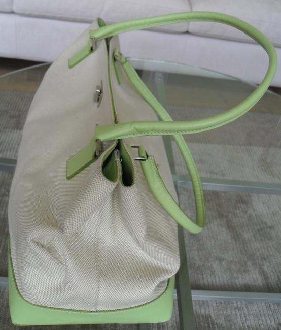 Lambertson Truex Off White Canvas with Pale Green Leather Trim Tote Lambertson Truex Off White Canvas with Pale Green Leather Trim Tote Image 4
