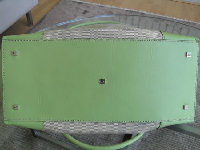 Lambertson Truex Off White Canvas with Pale Green Leather Trim Tote Lambertson Truex Off White Canvas with Pale Green Leather Trim Tote Image 7