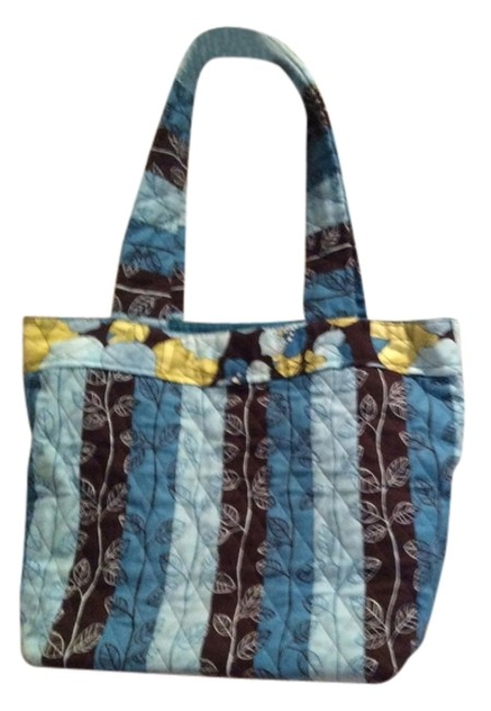 Blues and Brown Cotton Tote Blues and Brown Cotton Tote Image 1