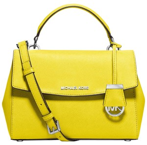 Michael Kors New Leather Silver Ava Satchel in Canary Yellow