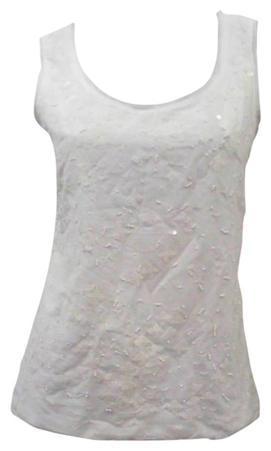 Charter Club Soft Cotton Sleeveless Sequin Front Scoop Neckline Pullover Top White