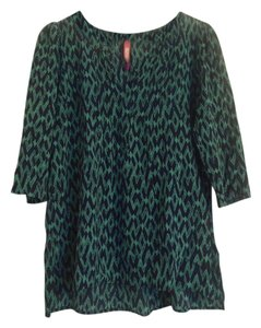 Plenty by Tracy Reese Anthropologie Split Neck Top green and navy print