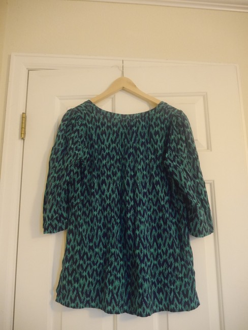 Plenty by Tracy Reese Anthropologie Split Neck Top green and navy print Image 1
