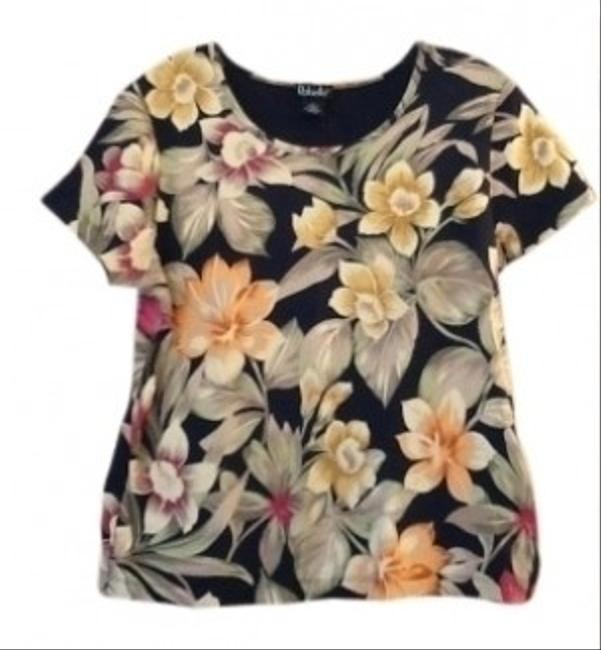 Rafaella T Shirt Black with peach, yellow florals