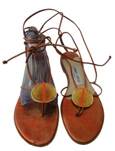 Jimmy Choo Leather Itay Orange Sandals