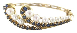 14KT Solid Yellow Gold Bracelet with Pearls and Sapphires