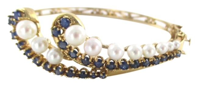 Gold 14kt Solid Yellow with Pearls and Sapphires Bracelet Gold 14kt Solid Yellow with Pearls and Sapphires Bracelet Image 1