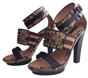 BCBGMAXAZRIA Studded Leather Tribal Black/Nude Sandals