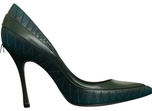 Manolo Blahnik Green Blue Gray Pumps