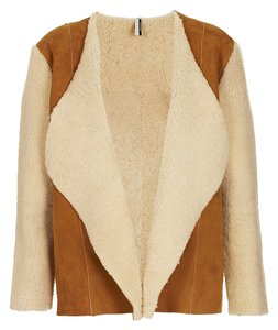 Kate Bosworth for TOPSHOP Genuine Shearling Shearling Tan/Brown Leather Jacket