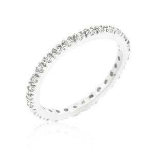 A. A. A. Rhodium Plated Simple Eternity Band With Round Cut Cz