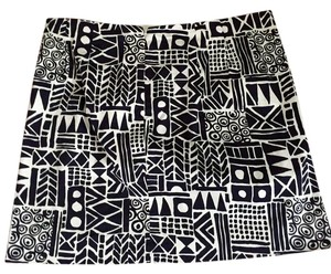 J.Crew Printed Geometric Mini Skirt Black and white