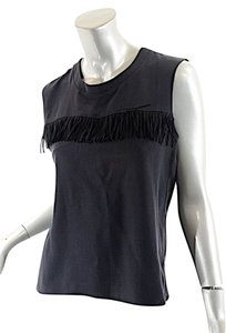 Lulu Townsend Silk Fringe Rock & Roll Top Black