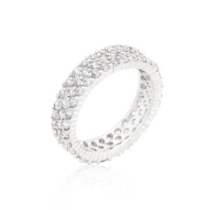 A. A. A. Rhodium Plated Simple 3-row Eternity Band With Round Cut Cz