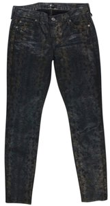 7 For All Mankind Cute Skinny Straight Leg Snake Print Skinny Jeans-Dark Rinse